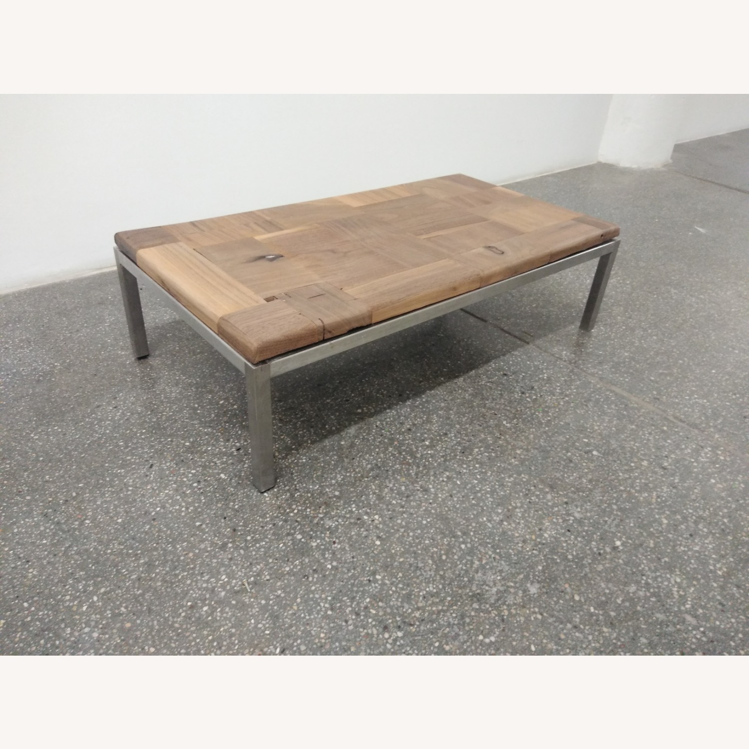 Restoration Hardware Solid Walnut Mosaic Coffee Table - image-9