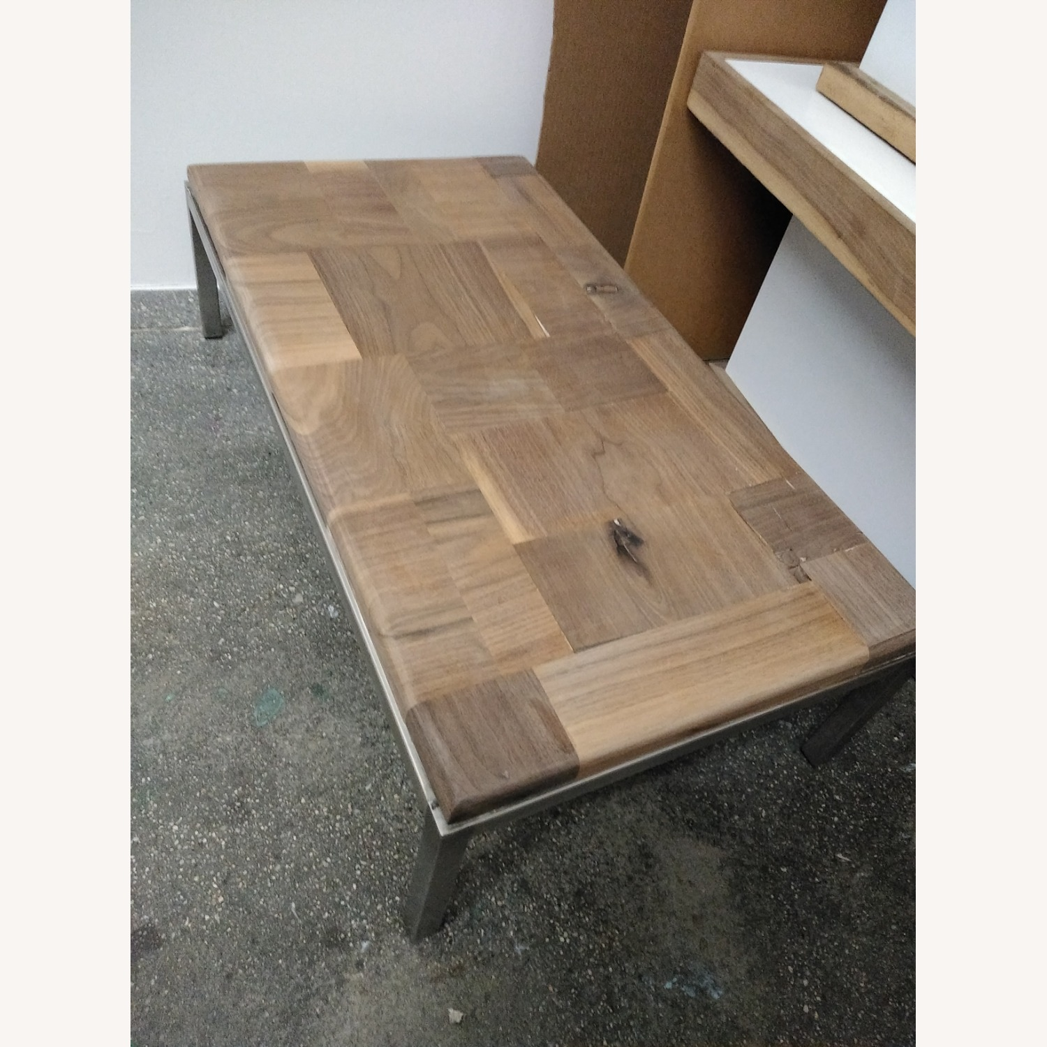 Restoration Hardware Solid Walnut Mosaic Coffee Table - image-17