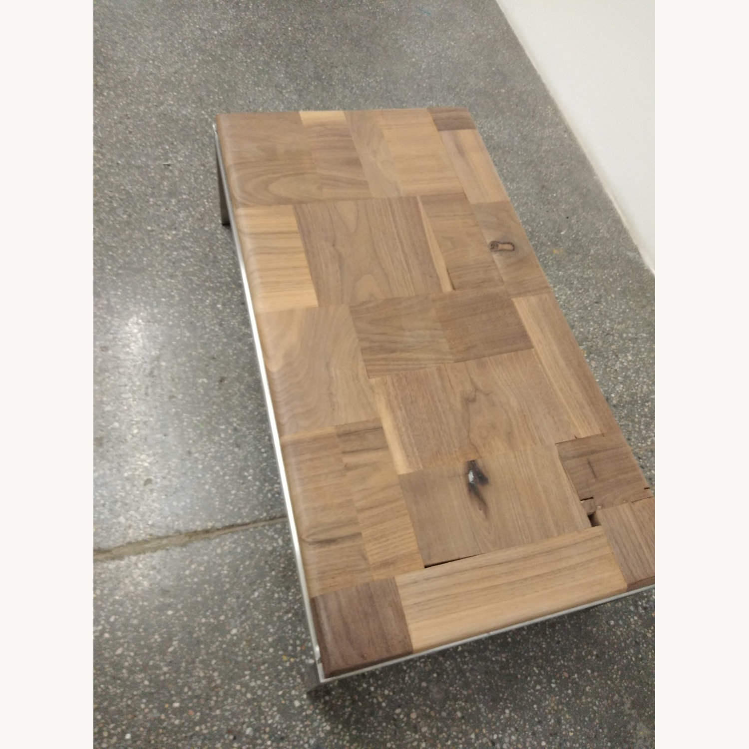 Restoration Hardware Solid Walnut Mosaic Coffee Table - image-7