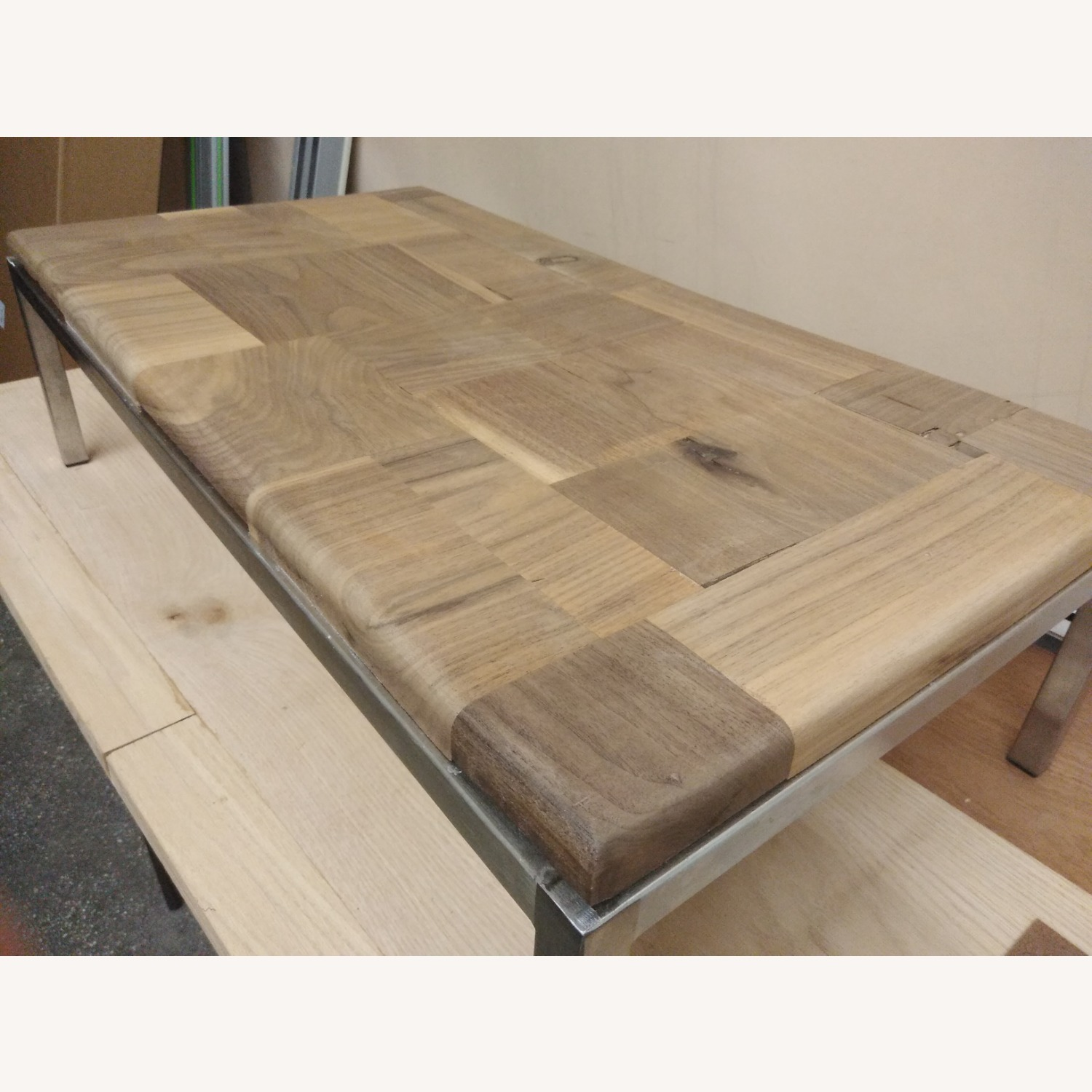 Restoration Hardware Solid Walnut Mosaic Coffee Table - image-11