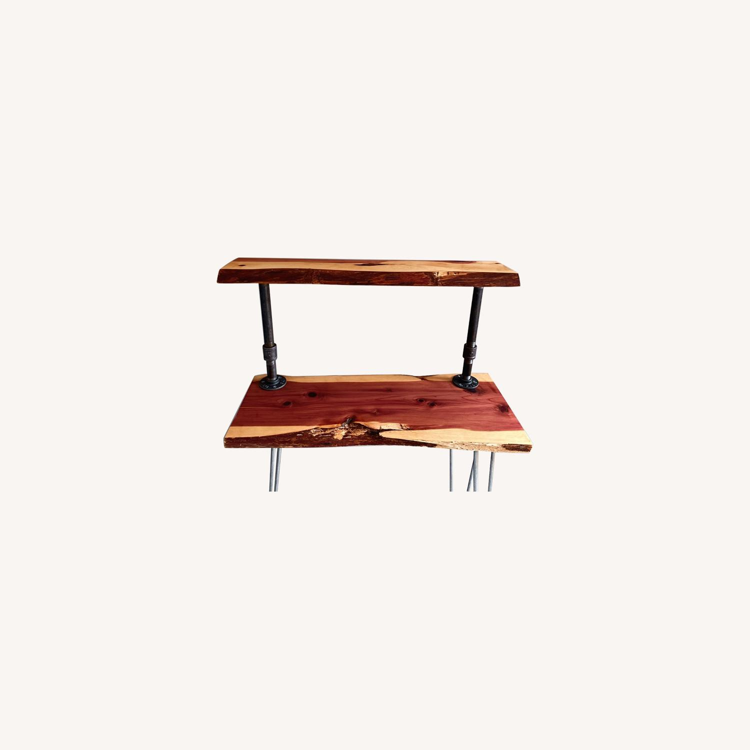 Rustic Handcrafted Live Edge Bar Cart - image-0