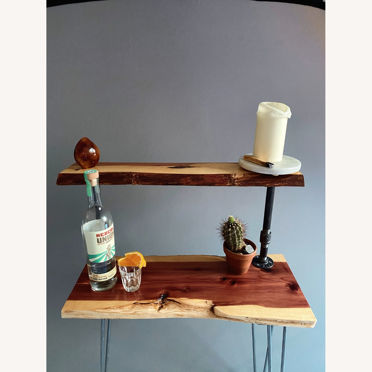Rustic Handcrafted Live Edge Bar Cart - image-9