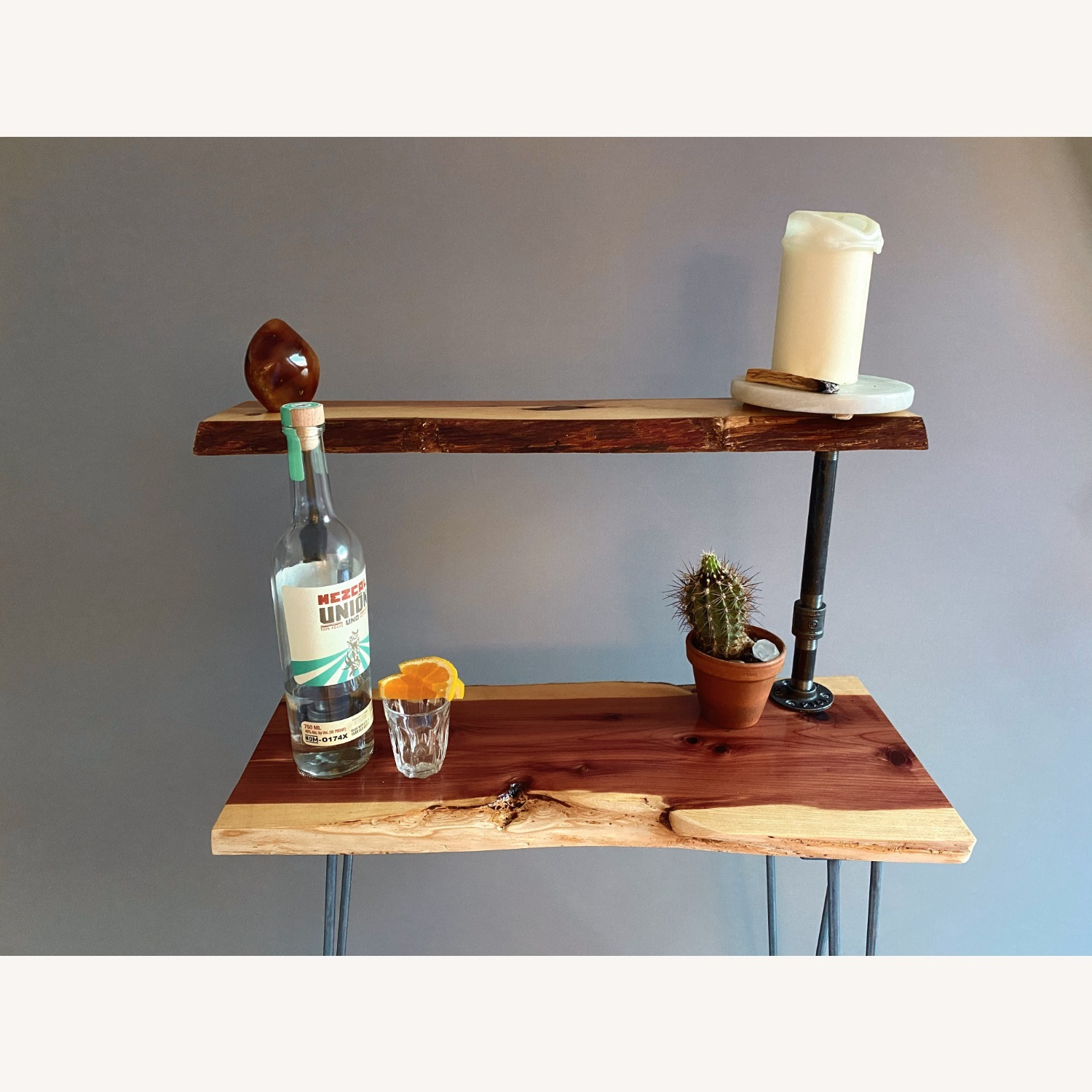 Rustic Handcrafted Live Edge Bar Cart - image-6