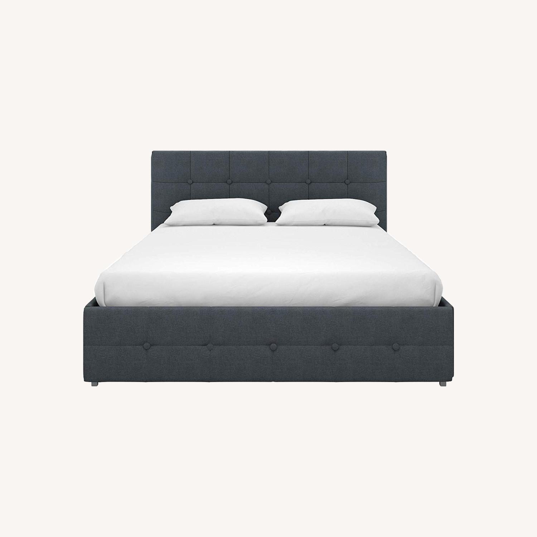 Wayfair Blue Velvet Queen Size Bed w/ Storage - image-0
