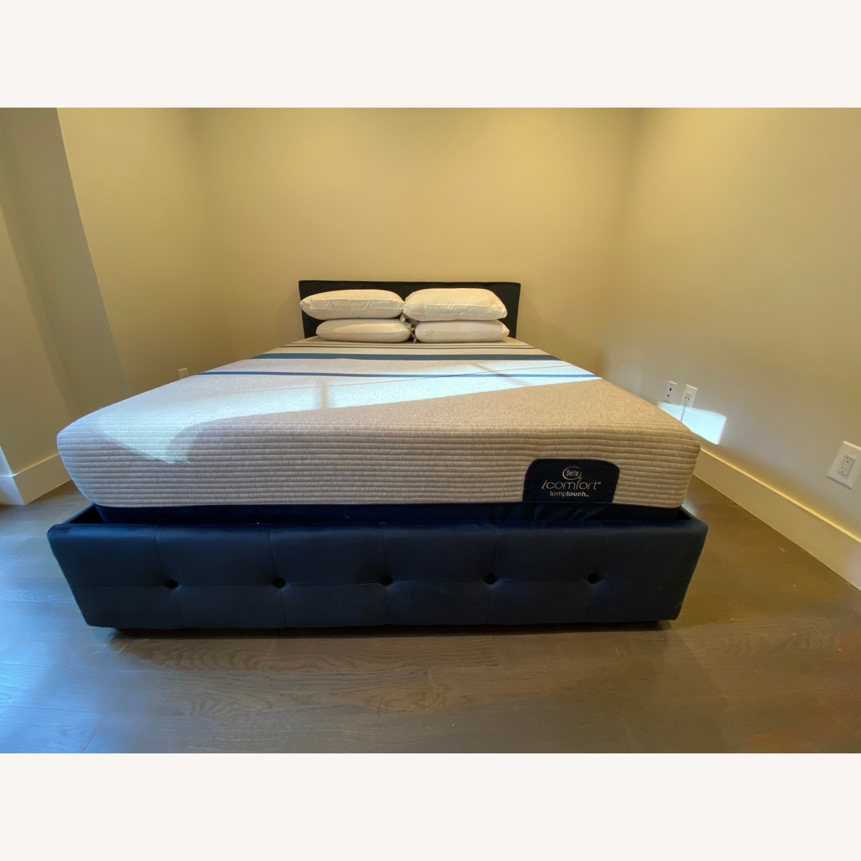 Wayfair Blue Velvet Queen Size Bed w/ Storage - image-6