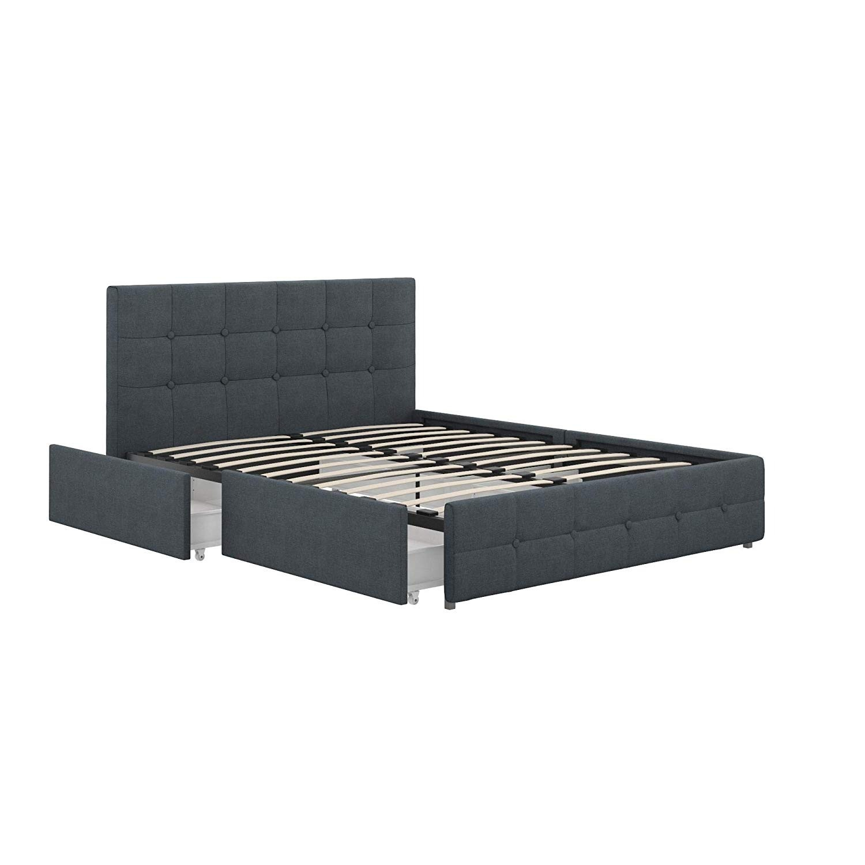 Wayfair Blue Velvet Queen Size Bed w/ Storage - image-1