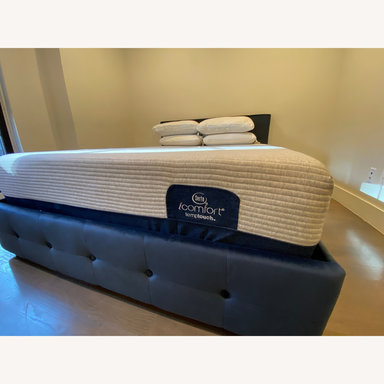 Wayfair Blue Velvet Queen Size Bed w/ Storage - image-5