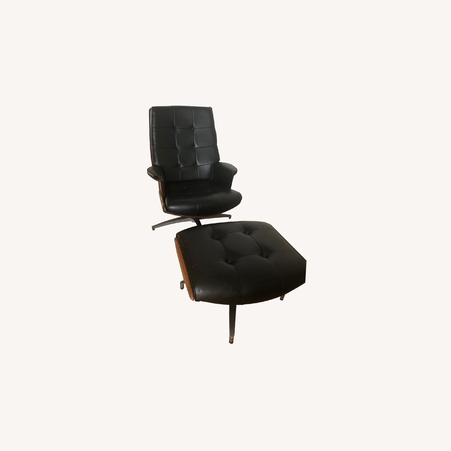 Vintage Black Leather Armchair with Foot Rest - image-0