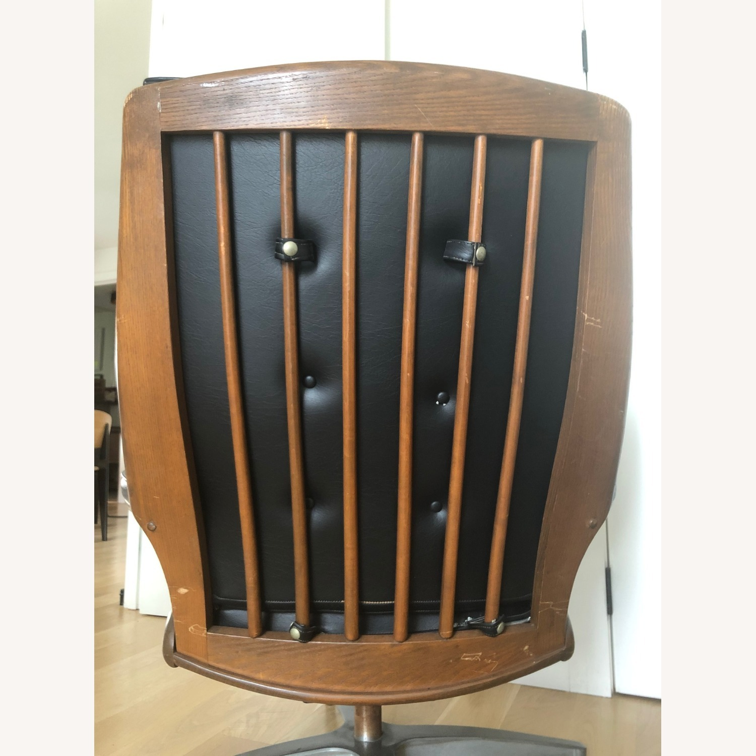 Vintage Black Leather Armchair with Foot Rest - image-6