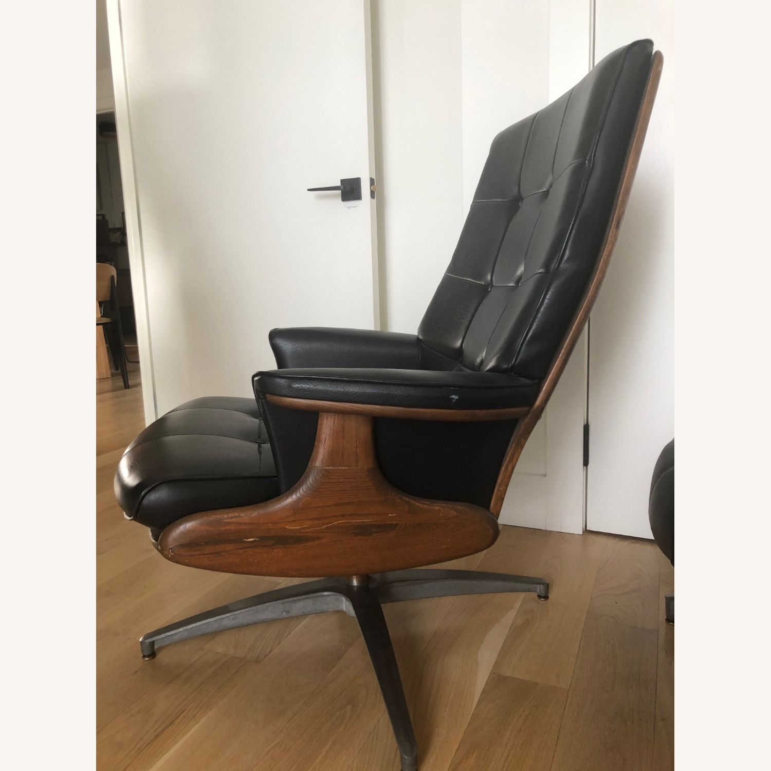 Vintage Black Leather Armchair with Foot Rest - image-9