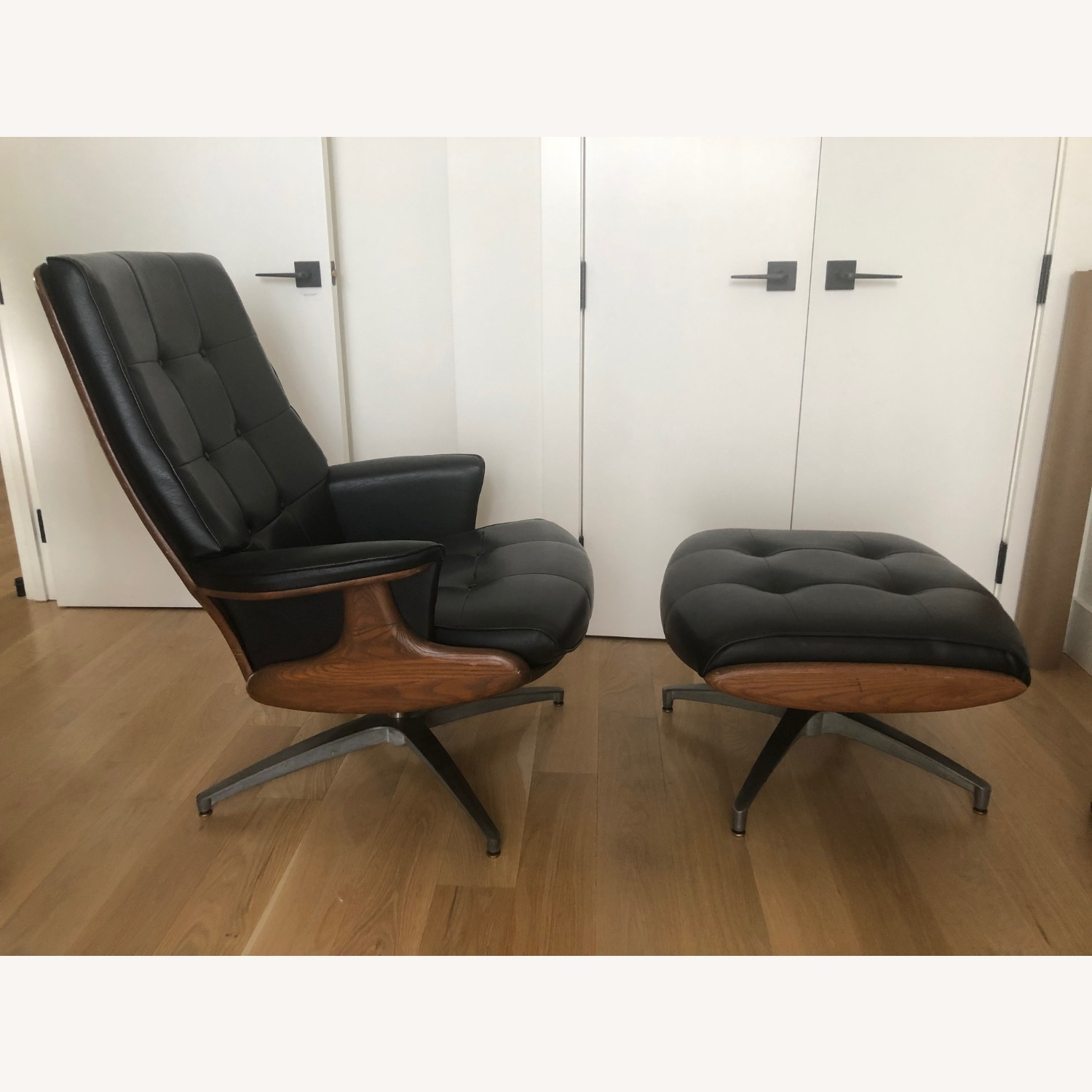Vintage Black Leather Armchair with Foot Rest - image-3