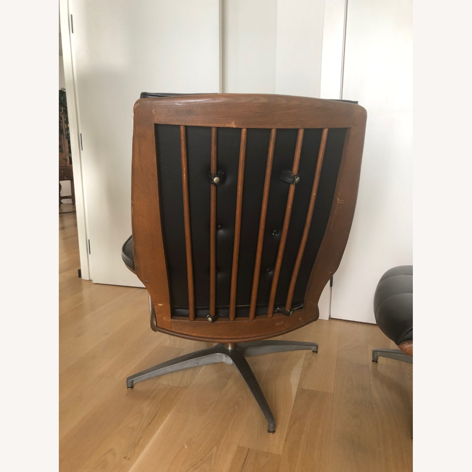 Vintage Black Leather Armchair with Foot Rest - image-5