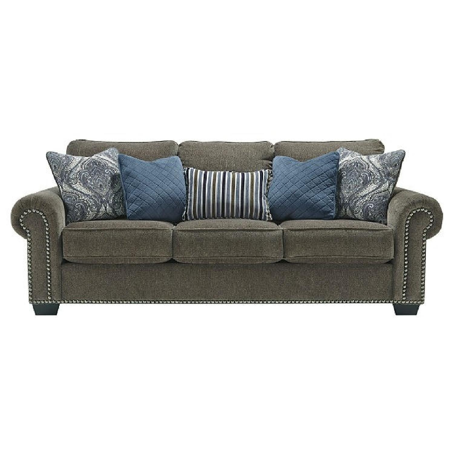 Ashley Navasota- 3 Seater Gray Chenille Sofa - image-1