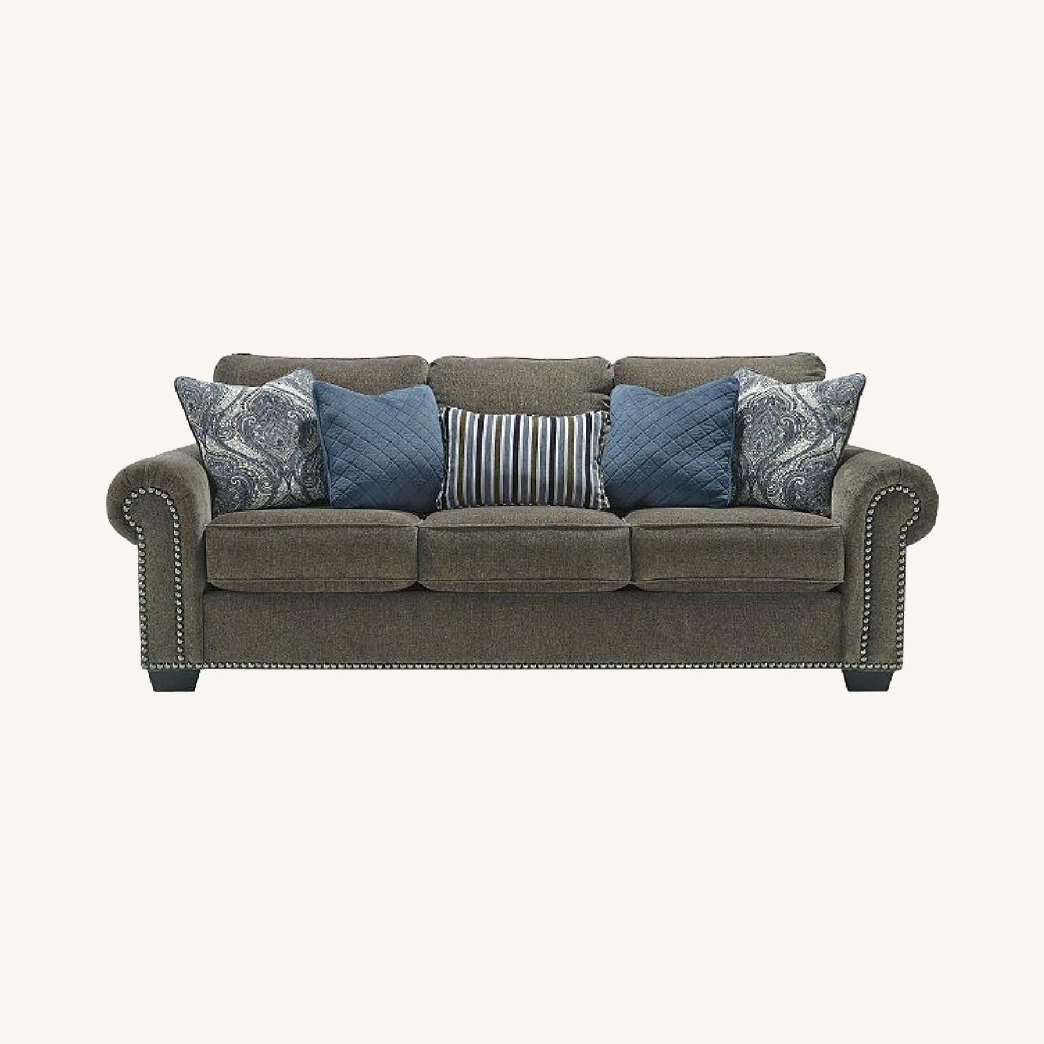 Ashley Navasota- 3 Seater Gray Chenille Sofa - image-0