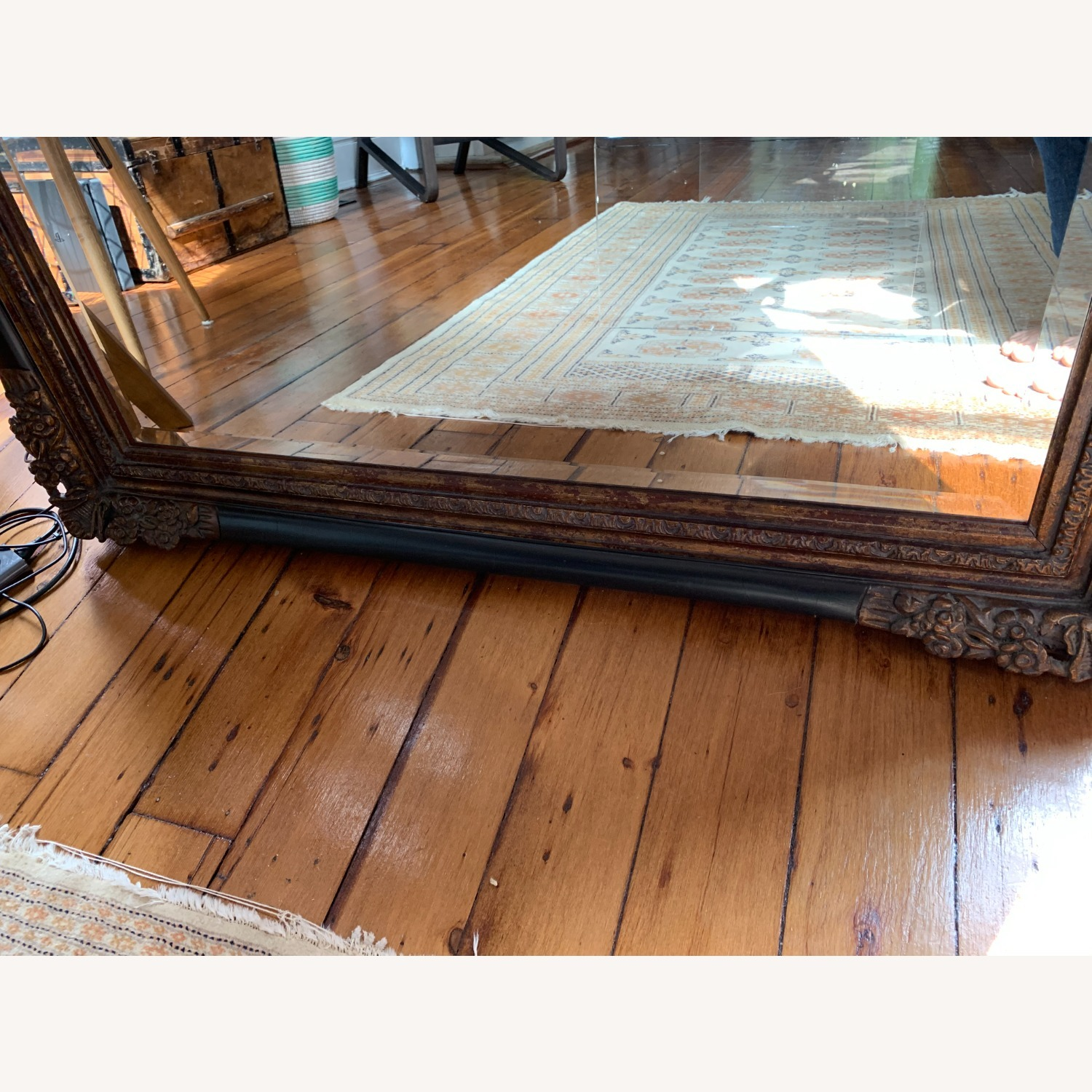 Ornate Antique French Floor Mirror - image-7