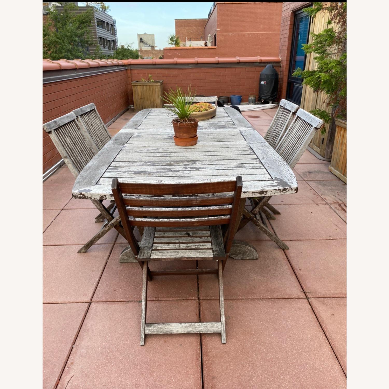 Gala Double Leaf Teak Table & Folding Chairs - image-1