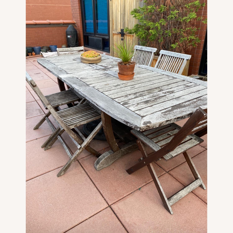 Gala Double Leaf Teak Table & Folding Chairs - image-0