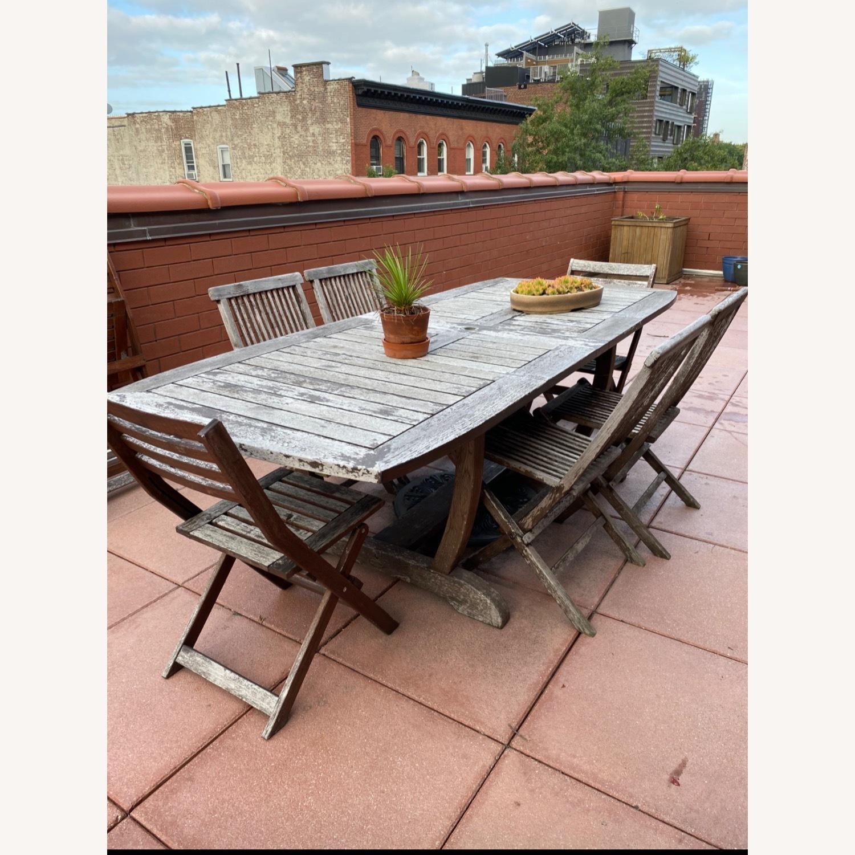 Gala Double Leaf Teak Table & Folding Chairs - image-2