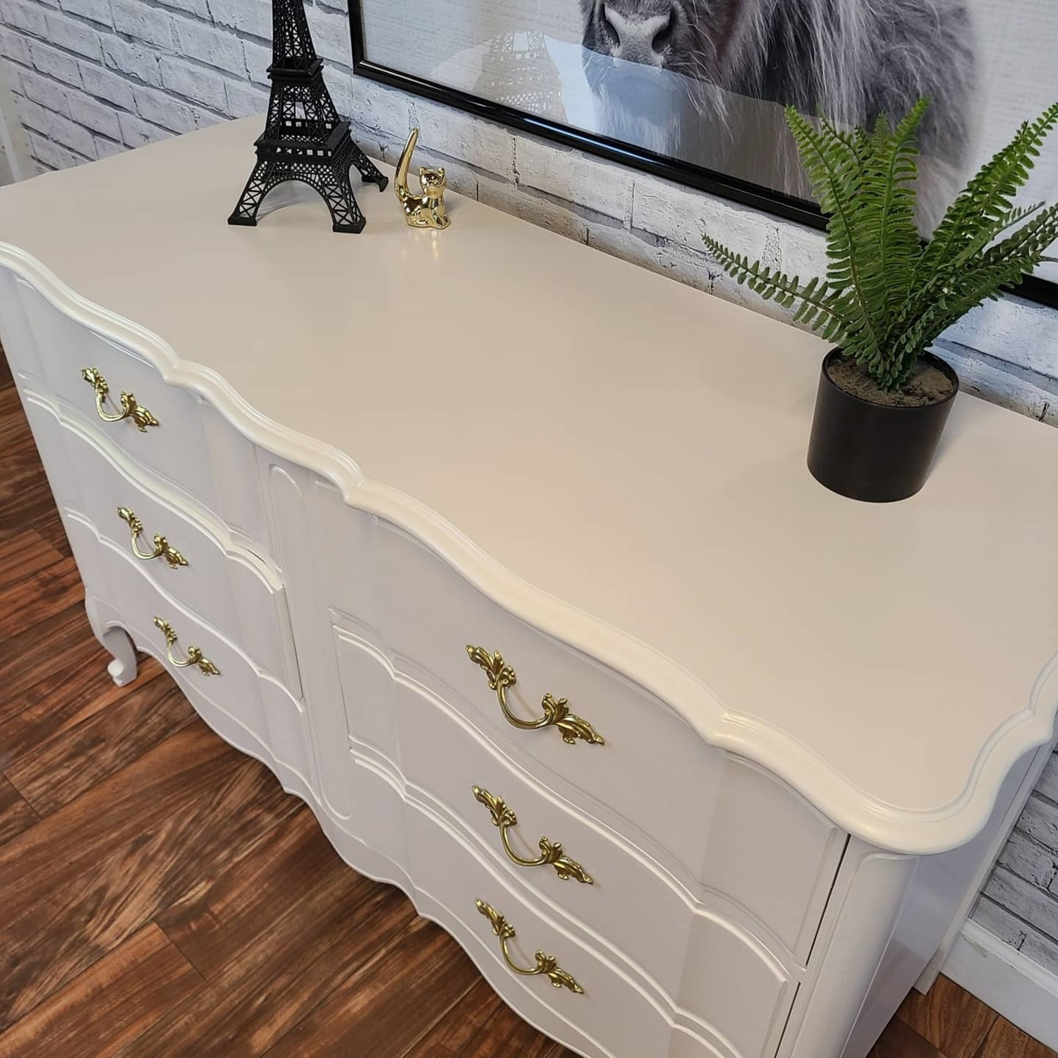French Provincial Warm White Dresser - image-1