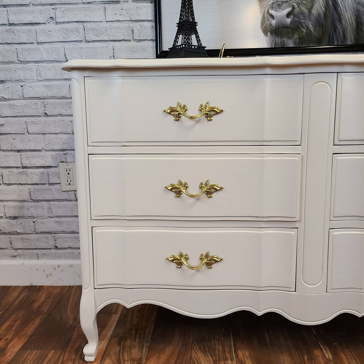 French Provincial Warm White Dresser - image-2