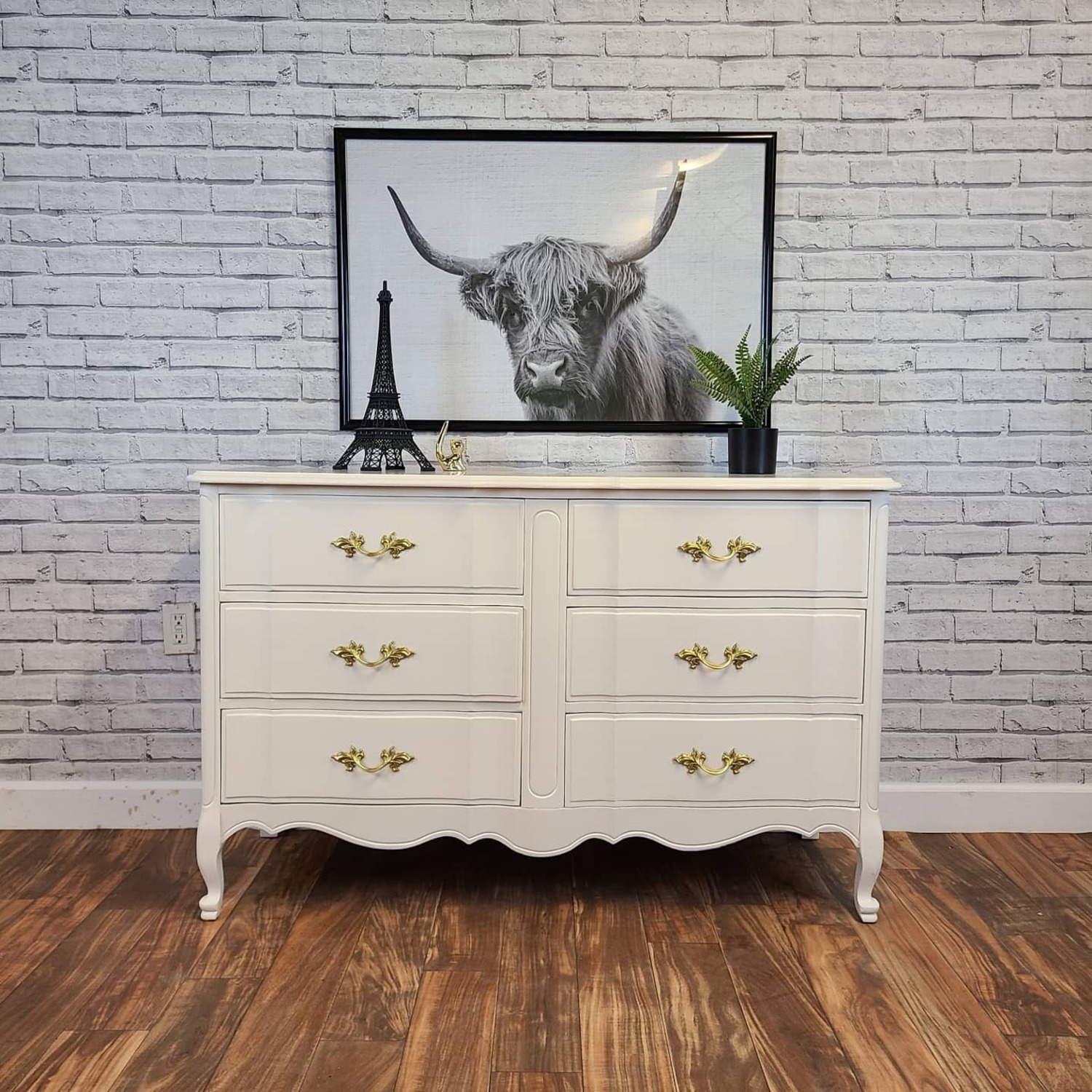 French Provincial Warm White Dresser - image-0