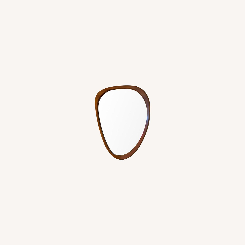 West Elm Mid-Century Asymmetrical Acorn Wood Wall Mirror - image-0