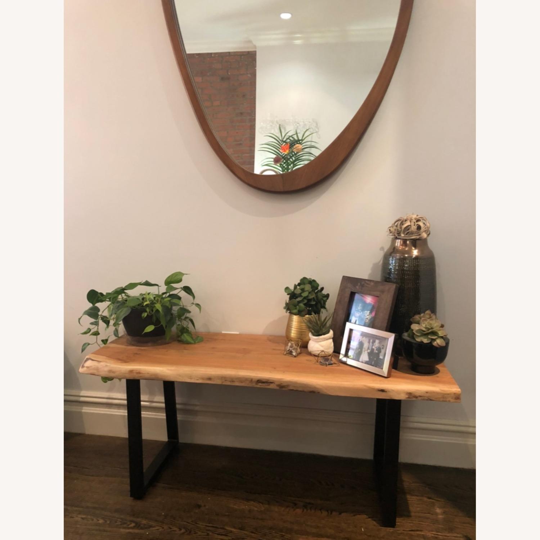 West Elm Mid-Century Asymmetrical Acorn Wood Wall Mirror - image-3