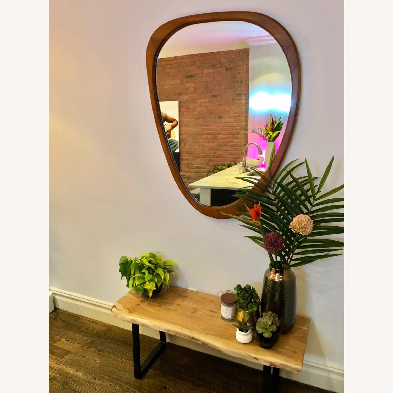 West Elm Mid-Century Asymmetrical Acorn Wood Wall Mirror - image-1