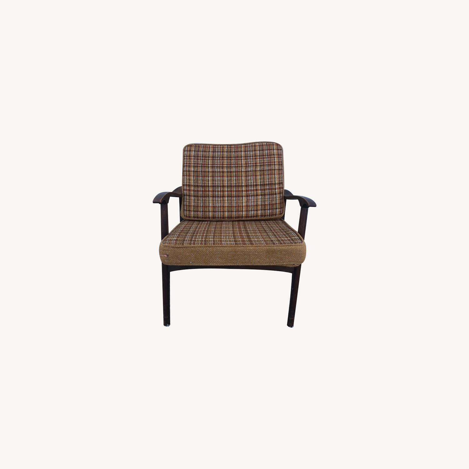 Mid Century Lounge Chair with Plaid Upholstery - image-0