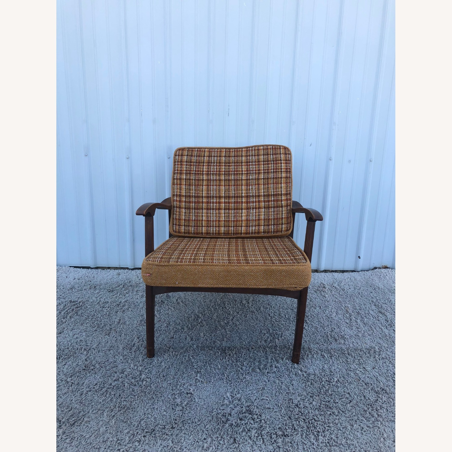 Mid Century Lounge Chair with Plaid Upholstery - image-5