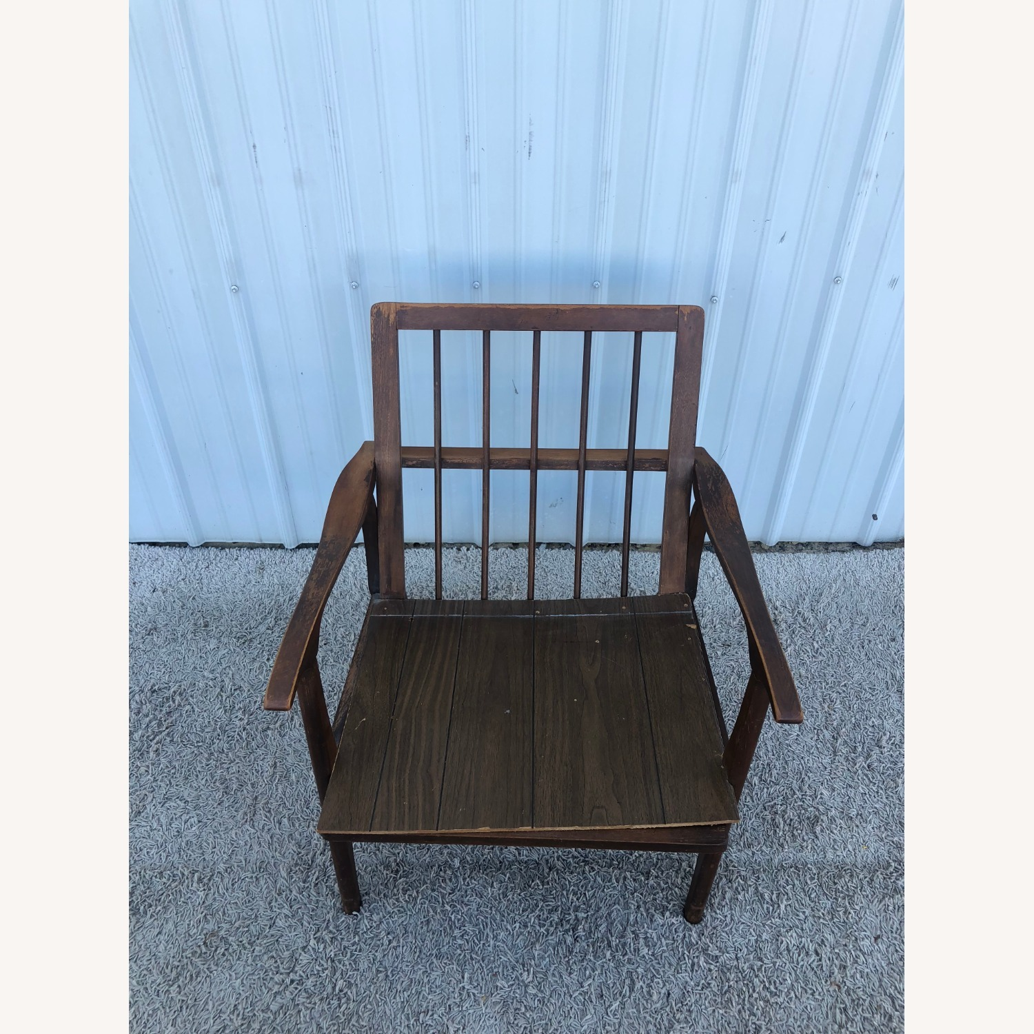 Mid Century Lounge Chair with Plaid Upholstery - image-9