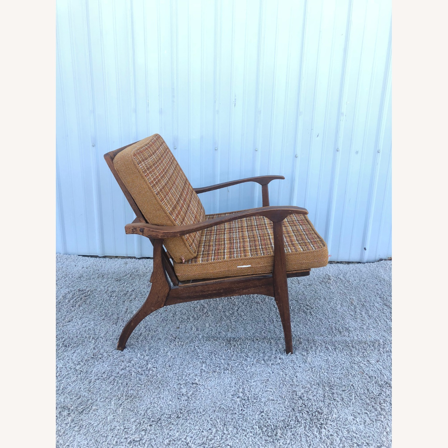 Mid Century Lounge Chair with Plaid Upholstery - image-3