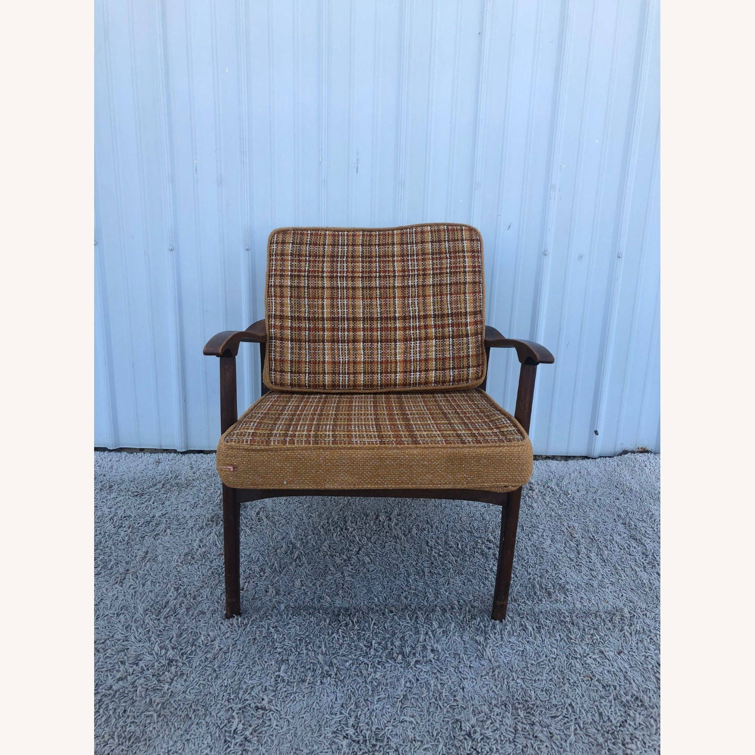 Mid Century Lounge Chair with Plaid Upholstery - image-2
