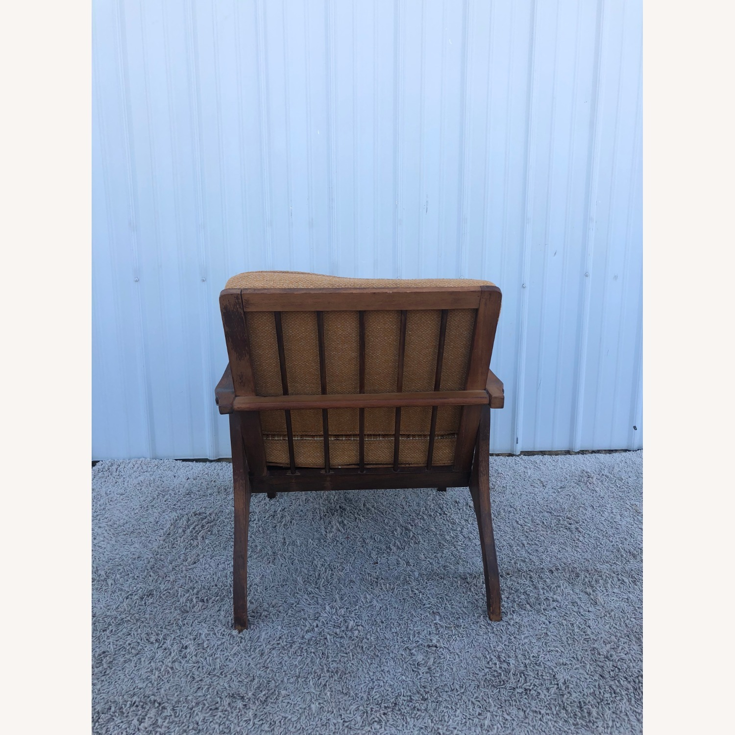 Mid Century Lounge Chair with Plaid Upholstery - image-4