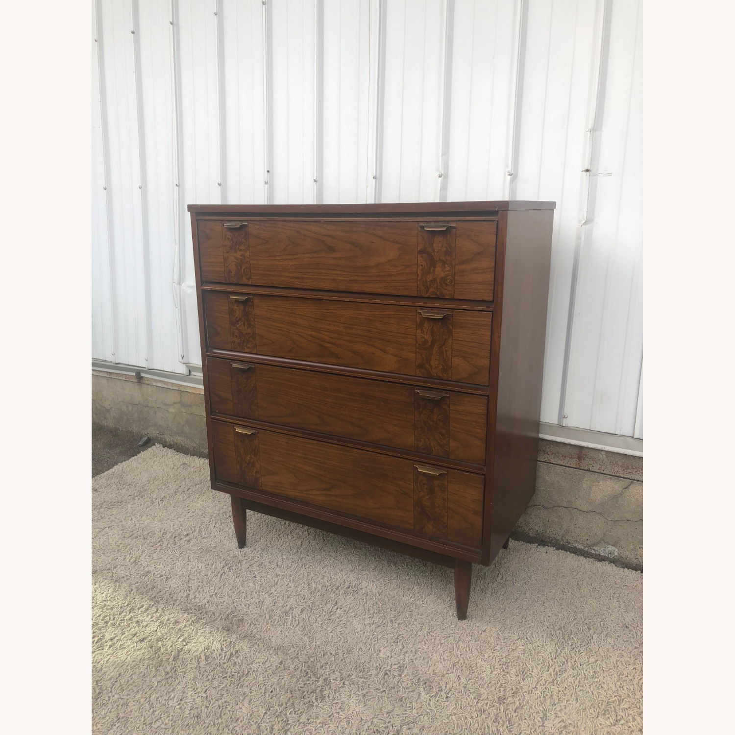 Mid Century Four Drawer Dresser with Burlwood - image-3