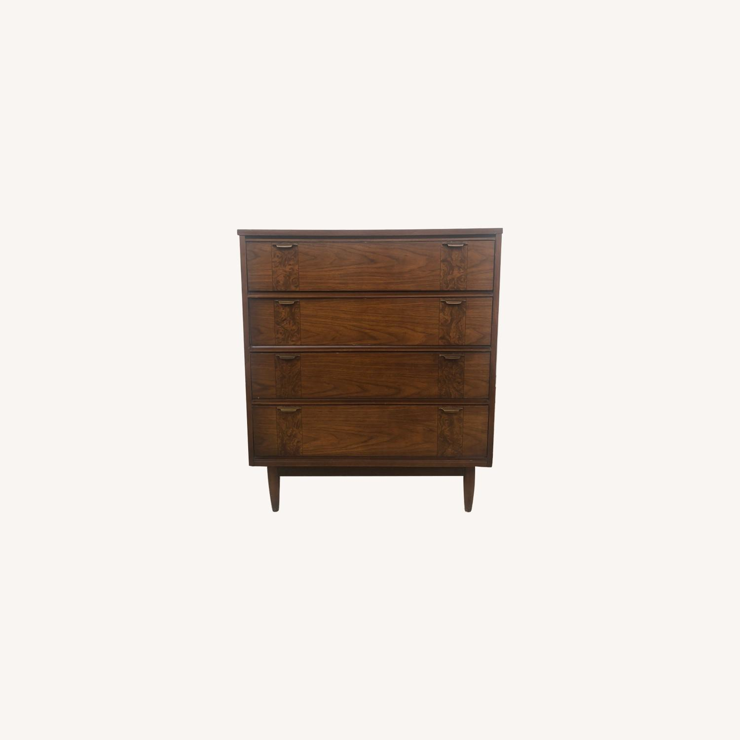 Mid Century Four Drawer Dresser with Burlwood - image-0