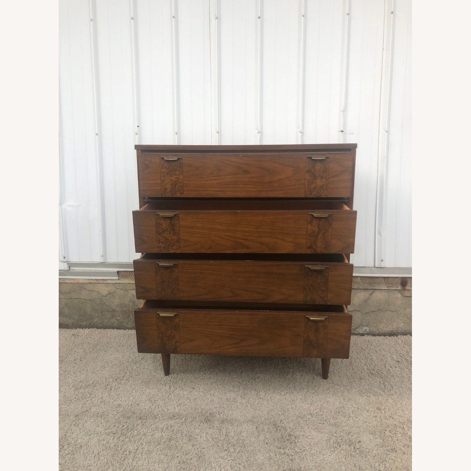 Mid Century Four Drawer Dresser with Burlwood - image-9
