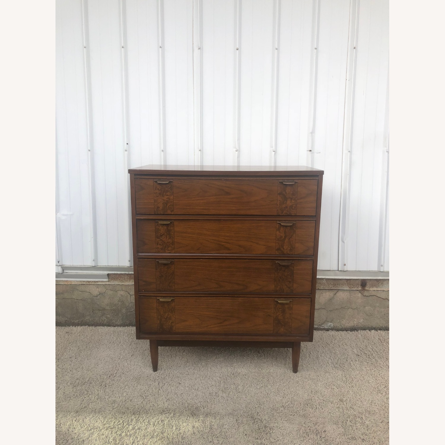 Mid Century Four Drawer Dresser with Burlwood - image-4