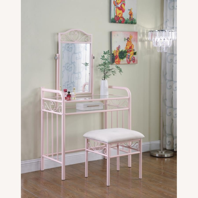 Vanity Set In Powder Pink Steel Construction - image-5