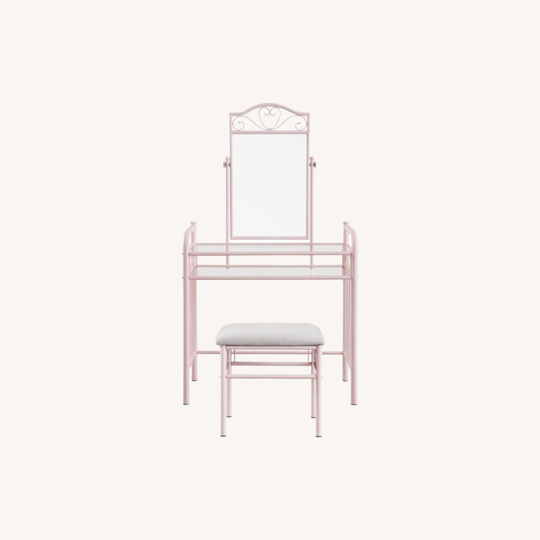 Vanity Set In Powder Pink Steel Construction - image-6