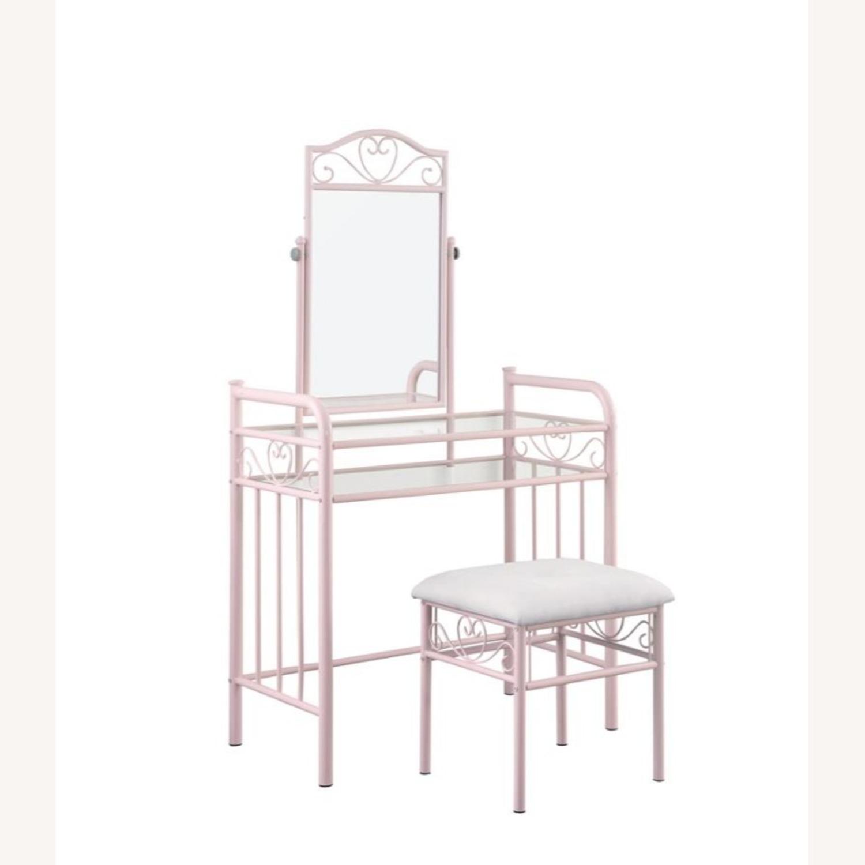 Vanity Set In Powder Pink Steel Construction - image-0