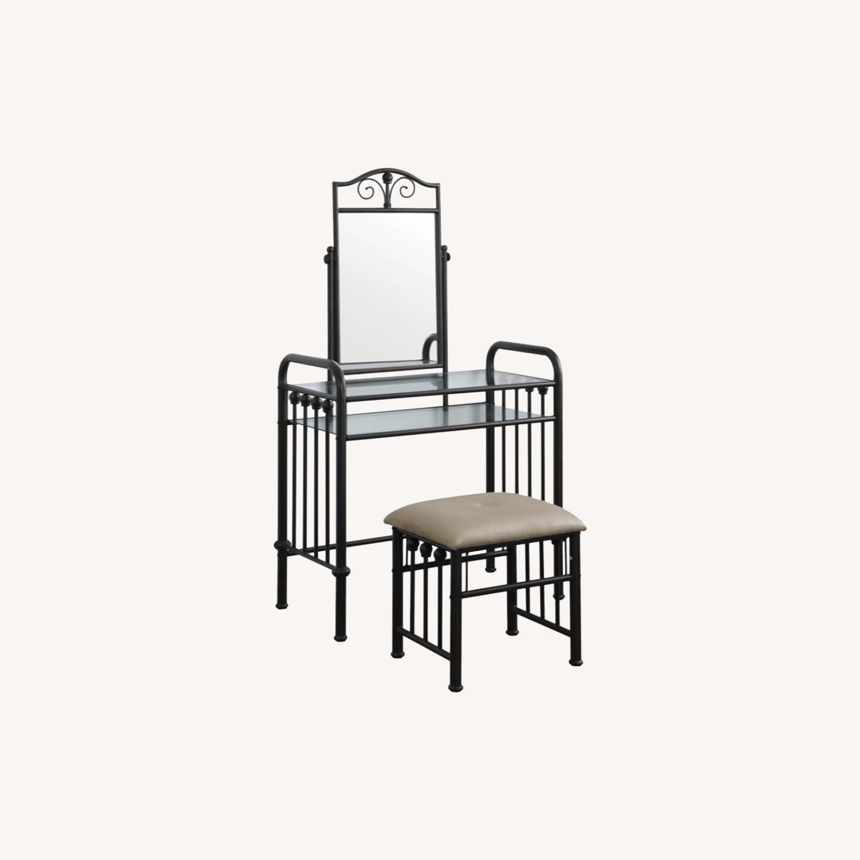 Vanity Set In Espresso Finish W/ Glass Shelves - image-5