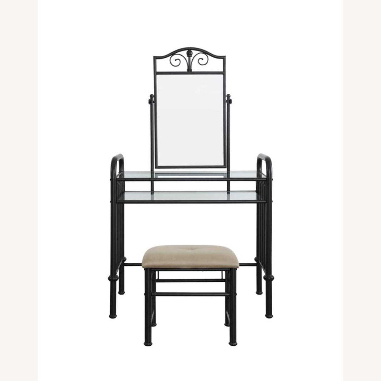 Vanity Set In Espresso Finish W/ Glass Shelves - image-1