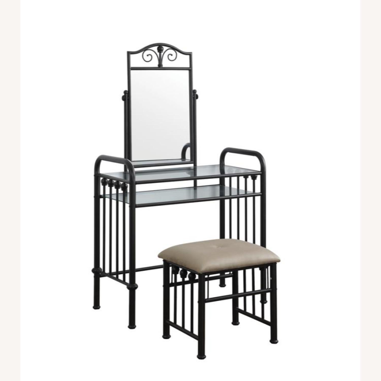 Vanity Set In Espresso Finish W/ Glass Shelves - image-0