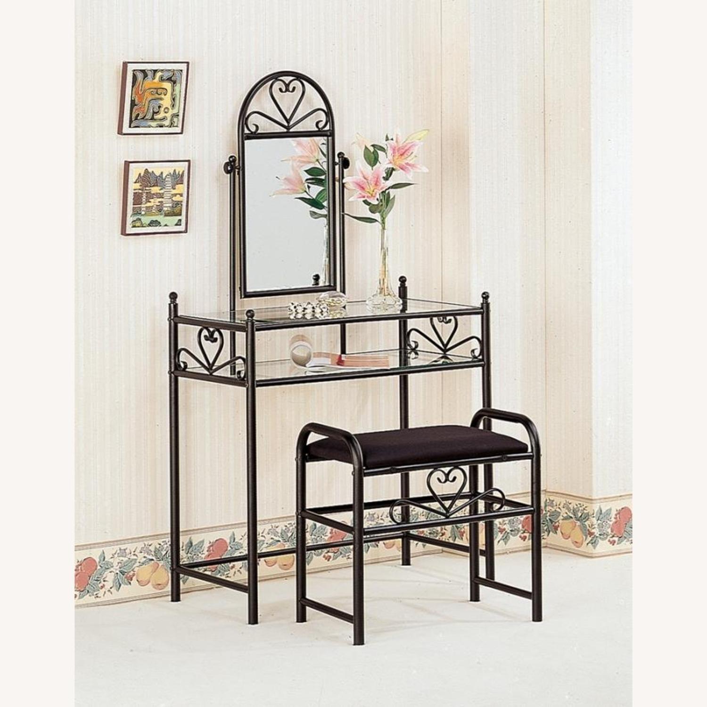 Vanity Set Black Metal Finish W/ Shelves - image-2