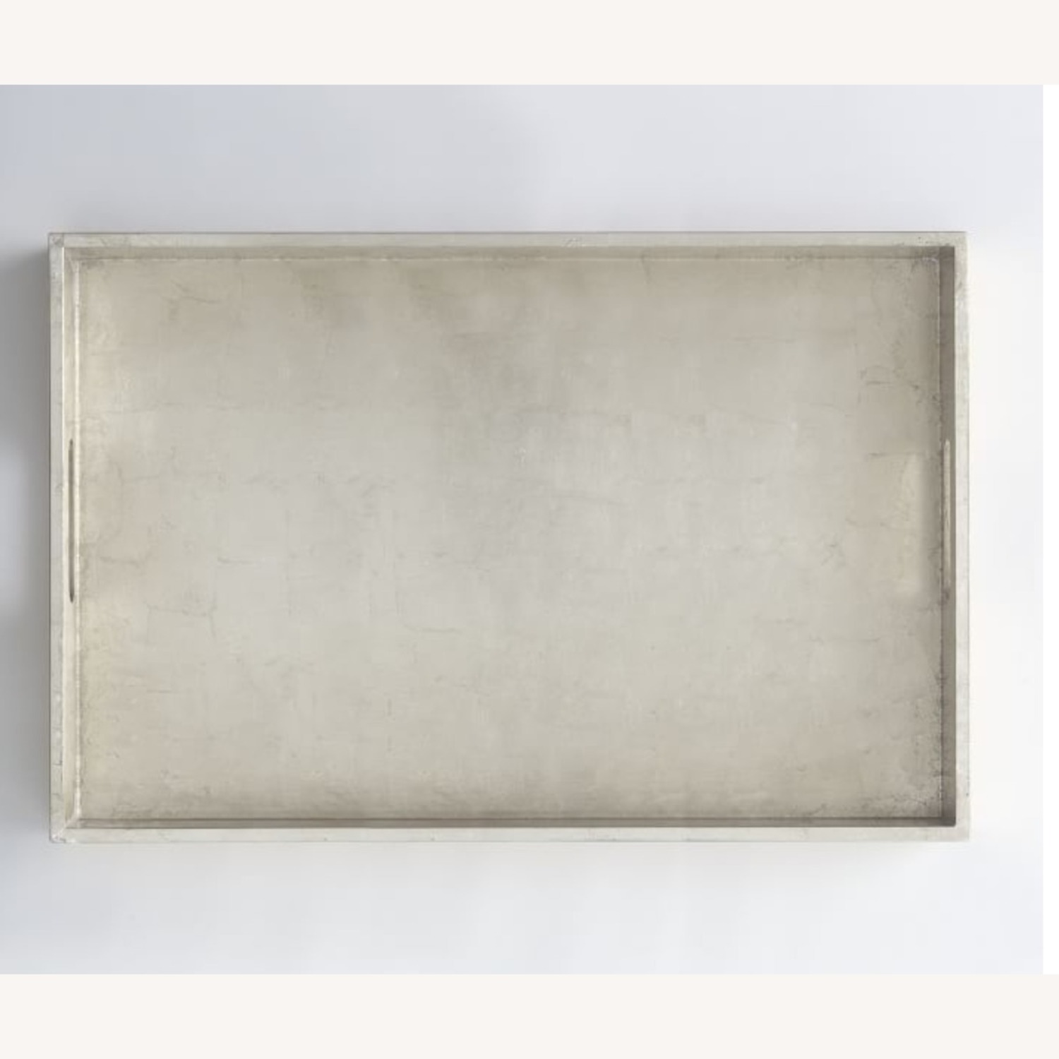 """West Elm Lacquer Wood Tray 18""""x28"""" Metallic Silver - image-1"""