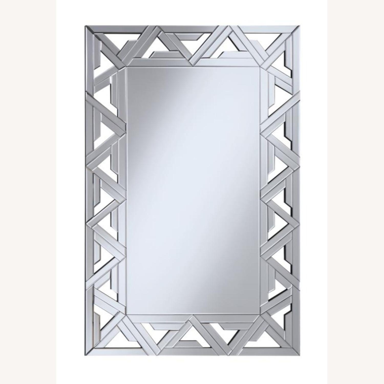 Decorative Clear Mirror W/ Geometric Design - image-0