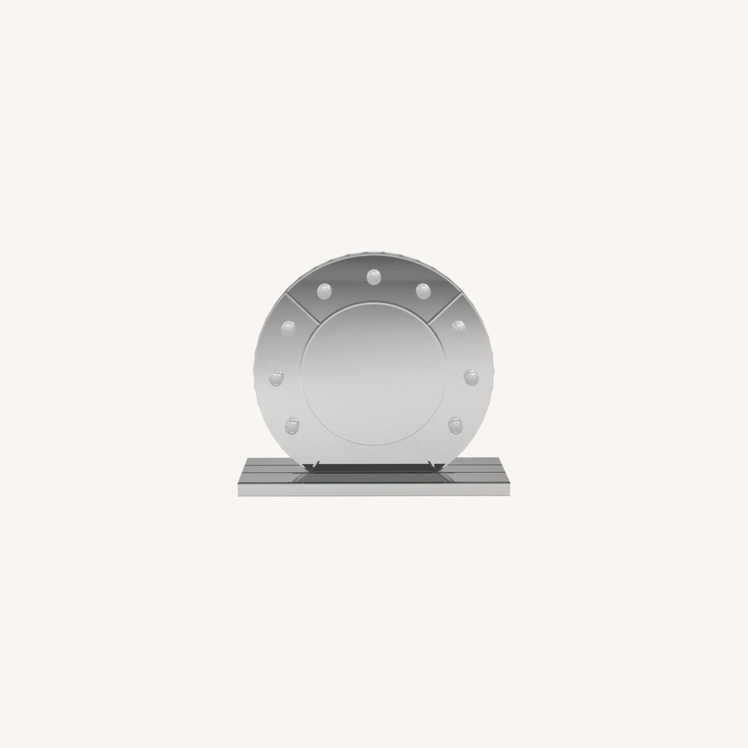 LED Table Mirror In Silver Frame Finish - image-7