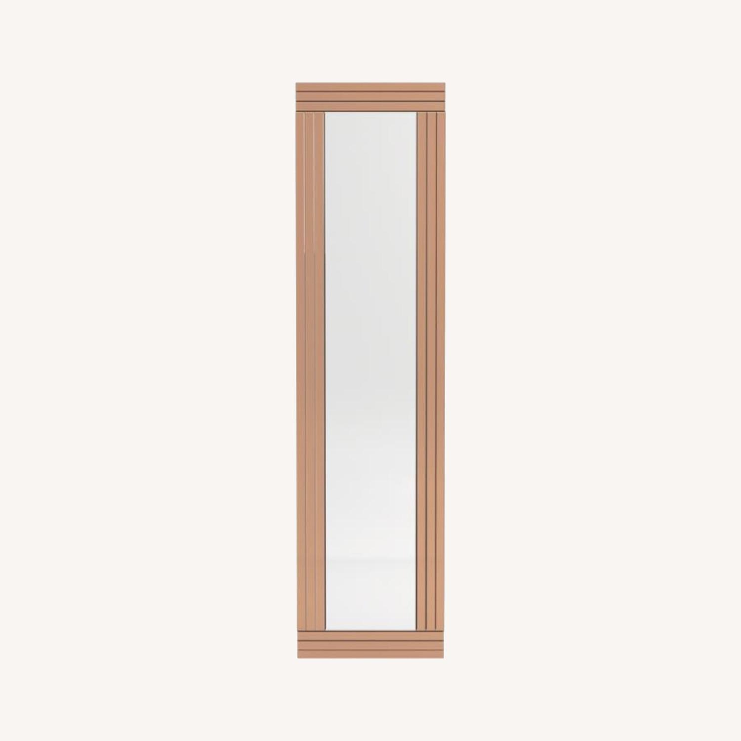 Wall Mirror In Rose Gold W/ Clean Lined Silhouette - image-4