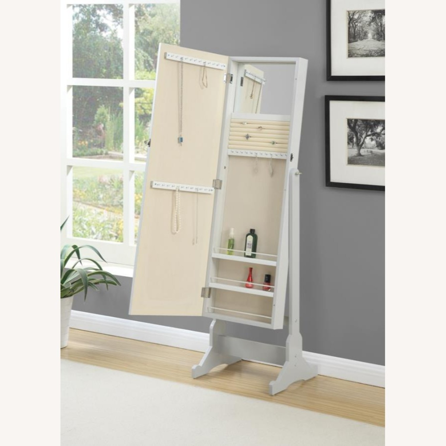 Tilting Jewelry Mirror In Dove Grey Finish - image-1